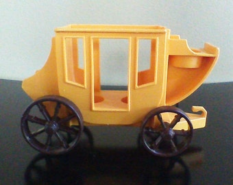 Vintage Fisher Price Little People Western Town Yellow Stagecoach #934