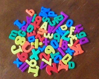 Huge Lot of 63 Vintage Magnetic Alphabet letters, Refrigerator Alphabet Magnets, ABC 123 Letters Numbers