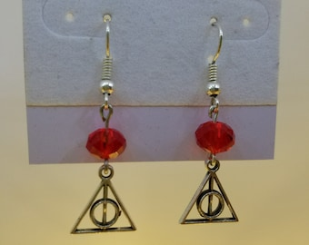 Red Crystal Deathly Hallows Earrings