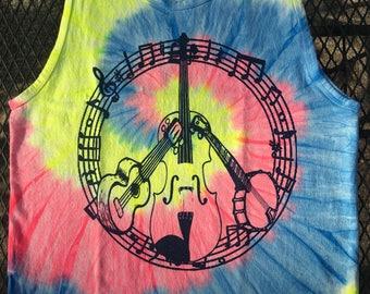 New! Peace Love Bluegrass - Tank Top - Neon - Tie Dye