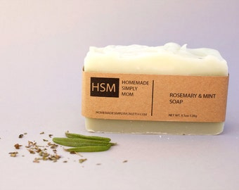 Vegan Soap with shea butter scented with Rosemary & Peppermint Essential Oils- Soap for him- French Green Clay Soap- Palm Free soap