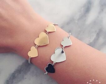 Chain bracelet 3 hearts