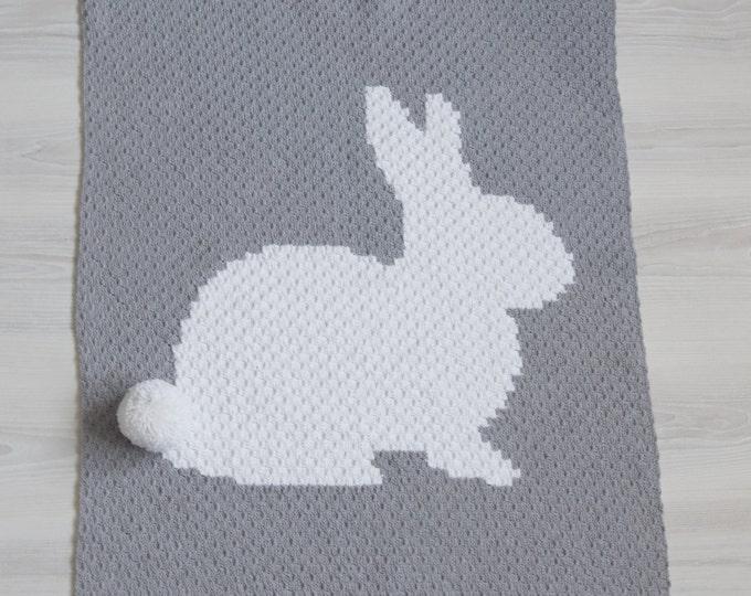 Crochet Bunny Baby Blanket, C2C Blanket, Corner to Corner Blanket, travel stroller size, Car seat Blanket, Crib Blanket