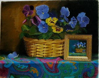 Pansy Basket With Miniature-Oil Painting Sale Priced
