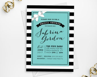 Printable Tiffany's Bridal Shower Invitation, Printable Breakfast at Tiffany's Bridal Shower Invitation, DIY Tiffany Blue Shower Invite