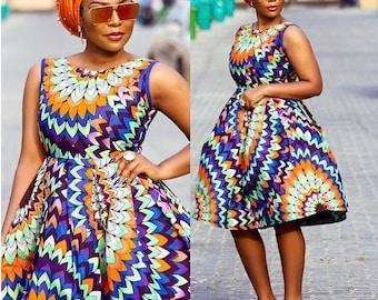 Ankara Sleeveless Mixed Colours Swing Dress   African Print Dress, Mixed Print Dress, Ankara Midi Dress, Ankara Two Tone Dress