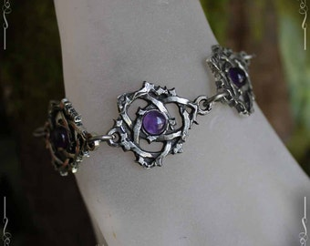 Celtic knot bracelet, triquetra, trinity, with amethyst
