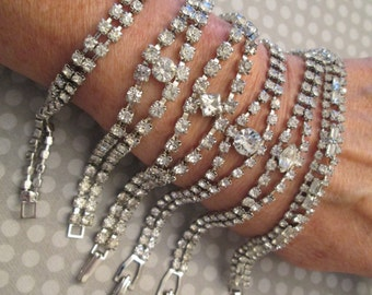 SALE>>1950's Glamour> Weiss Rhinestone Bracelets>>New old stock, never worn>> Your Choice of styles
