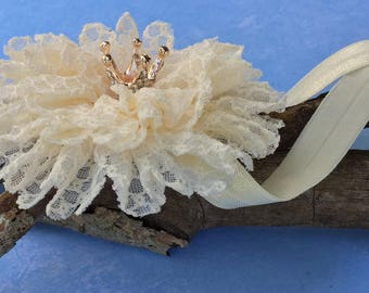 Princess Crown Headband, Shabby Chic Vintage Couture Lace Flower Headband, Newborn, Infant, Baby, Baby Girl and Adult Headband, Photo Prop