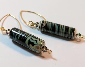 5 Elements Lamp Work Glass Bead Earrings