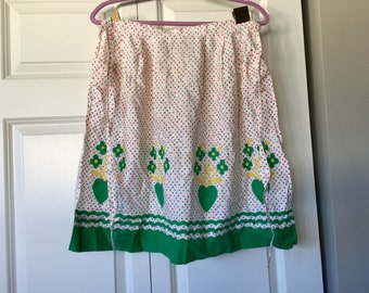 Cute vintage floral half apron green and yellow apron