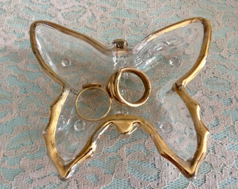 Small Butterfly ring dish butterfly trinket dish gold rimmed ring dish
