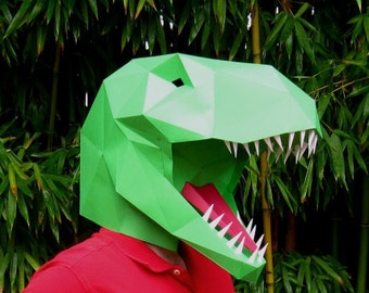 Dinosaur Mask - Make a T-Rex Mask with just Paper and Glue! | Paper Mask | DIY Mask | Halloween Mask | Dinosaur Costume