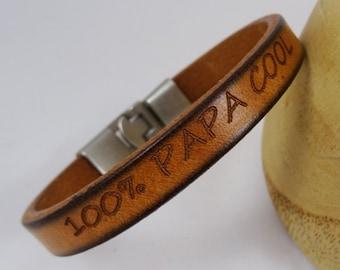 Bracelet homme cuir gravé cadeau personnalisé
