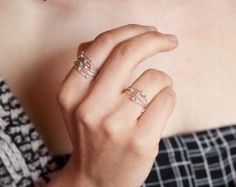 Zarte Bio Sterling silber Ring, zwei Größen zur Auswahl (verstellbar - abgelötet Version)