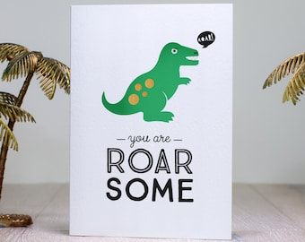 Dinosaur T-Rex Valentine Card, Roar-some Awesome Jurassic Anniversary Love Card, Cheeky Scandinavian Dino Print, Retro Romantic Note Card