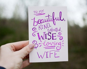 Wife Valentine Card - To my Wife - Anniversary Card, Mothers Day Card, Just Because Card, Wife Birthday