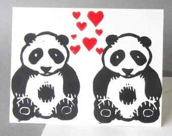 Handmade Love Card, Panda Design Hearts Valentines Card, Anniversary Card, White Paper Black Red Ink, Hand Printed Linoprint, Linocut Design