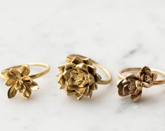Succulent Stacking Ring No. 4- Miniature Plant- Inspired Jewelry in Precious and Semi-Precious Metals