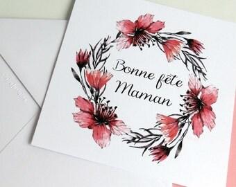 Bonne Fête Maman - Carte pour les mamans - couronne de fleurs rouge grenat et noir - fête des mères - Pour maman - Carte à écrire -