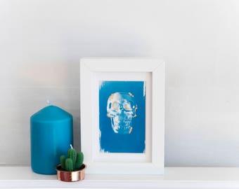 Cyanotype Hand Printed Photograph / Fine Art Print with 24c Gold Leaf  / Human Skull / Skeleton / Gothic / Bones / Anatomy / Anatomical