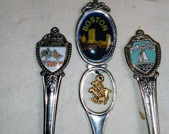 Souvenir/Collectible Spoons Set Of 3/Boston, Florida, Wildwood Used (Sw)