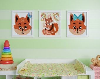 Cute Foxes Set - 3 Nursery Decor Printables, Printable Cute Forest Creature Art, Baby Shower Poster, Play Room Wall Decor, Fox Nursery Art