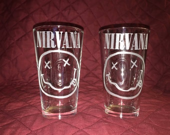 2 Hand Etched Nirvana Pint Glasses!