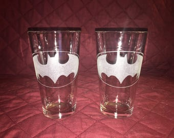 2 Hand Etched Batman Pint Glasses!