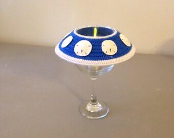 Wine Glass Tea Light Lamp, Plastic Canvas Lamp, Sand Dollar, Ocean, Beach, Gift, Unique Gift,