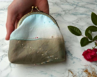 Hand stitched Coin Purse with bronze color vintage metal frame / Embroidery coin purse, photo embroidery / Ocean collection