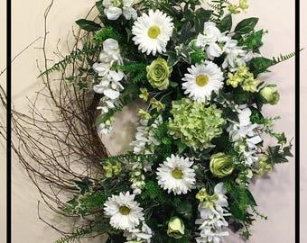 Spring Wreath Front Door Wreaths, Summer Door Wreaths, Spring Summer Wreath, Summer Wreaths For Front Door, Floral Wreath, Everyday Wreath