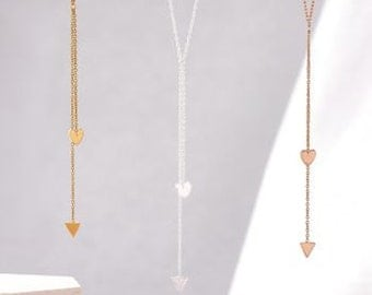Cupid's Arrow Necklace in Rose Gold