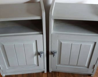 Paris Grey painted and waxed bedside cabinets
