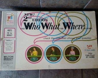 The Who What or Where Game Milton Bradley 2nd Edition