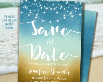 Printable Save the Date, Instant Download, Beach Wedding, Wedding templates, Self Editable PDF A216