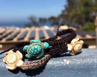 Beige turtle woven handmade bamboo bracelet
