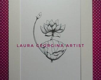 Original Botanical illustration, Waterlily Flower, Hand Drawn, Pen & Ink, Monochrome,A4 Mounted 14x11, Original Gift
