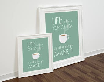 Life is quote print Quote Printable Inspirational Quote INSTANT DOWNLOAD Life is word Print Cup of Tea modern wall art  kitchen wall art