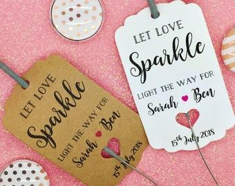 Sparkler Gift Tags, Wedding Sparklers, Let Love Sparkle, Wedding Firework Tags, Wedding Favour