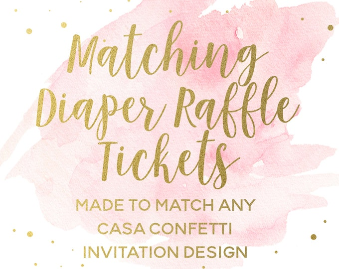 Diaper Raffle Ticket Baby Shower Insert Made to Match any Design, Custom Baby Shower Diaper Raffle Insert, Coordinating Party Printables