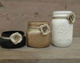 Mason Jar Desk Set, Co-worker Gift, Desk Organizer, Mason Jar Desk Décor, Mason Jar Office, Mason Jar Office Set, Desk Accessories, Desk Set