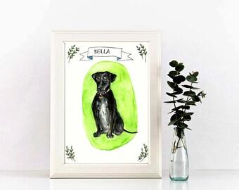 Watercolor pet portrait, pet portrait, painting from photo, pet watercolor, 5x8 original painting