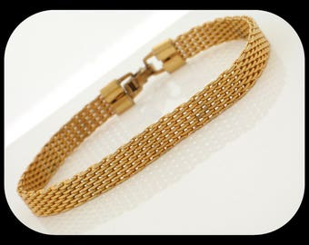 Vintage Signed Sarah Coventry Mesh Gold Plated BRACELET