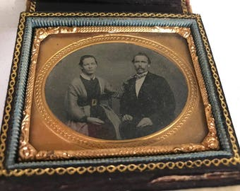 Tintype in daguerreotype style case -Man and Woman In Velvet Case-Completely in Tact with Working Latch!