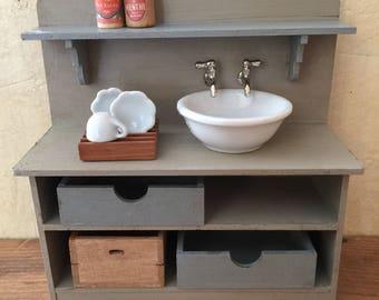 Dollhouse Miniature Sink, Miniature Kitchen Sink, Miniature Bathroom, Miniature House, Dollhouse Sink