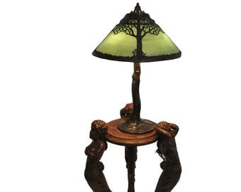 Handel Twin Trees Green Moisserine Overlay Lamp Crooked Tree Base #7708