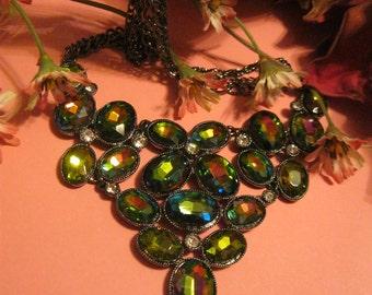 SALE Vintage Metallic Triple Chain Necklace with Facet & Rhinestone Bib