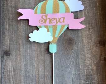 Hot Air Balloon Cake Topper - Hot Air Balloon - Cake Topper- First Birthday Decorations - Up Up and Away Decorations- Baby Shower Cake Decor