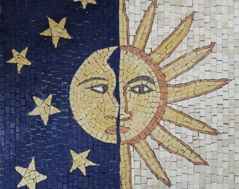 Sun and Moon Stones Faces Vertical Marble Mosaic GEO2641